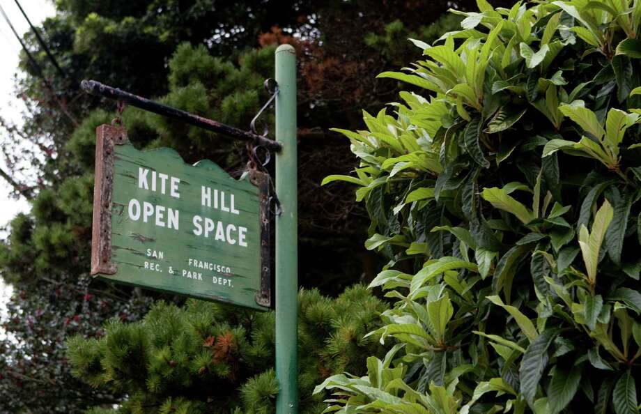 An unassuming sign at the corner of 19th and Yukon streets marks Kite Hill. Photo: Adam Lau / The Chronicle / SFC