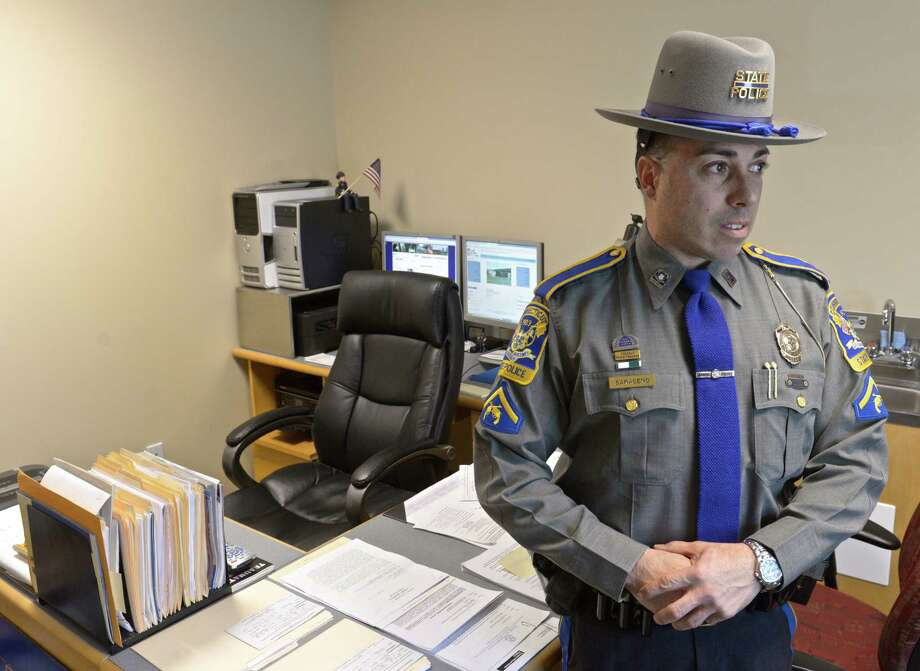 Michael Saraceno, resident state trooper in Sherman,  in his office in the Emergency Services building in Sherman, Conn, on Friday, February 20, 2015. Photo: H John Voorhees III / The News-Times