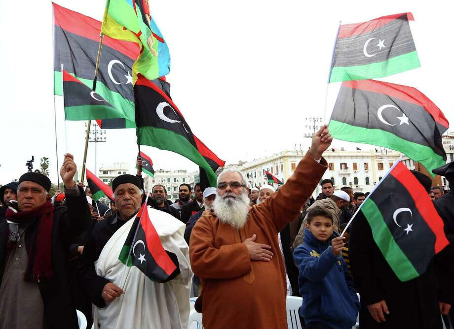 """Libyan supporters of """"Fajr Libya"""" (Libya Dawn), a mainly Islamist alliance, take part in a protest in Tripoli's central Martyr's Square. Photo: MAHMUD TURKIA / AFP / Getty Images / AFP"""