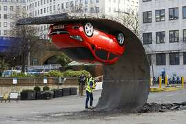 'Alex Chinneck for Vauxhall Motors: Pick yourself up and pull yourself together' for the launch of the Vauxhall Corsa at Southbank Centre on February 19, 2015 in London, England.