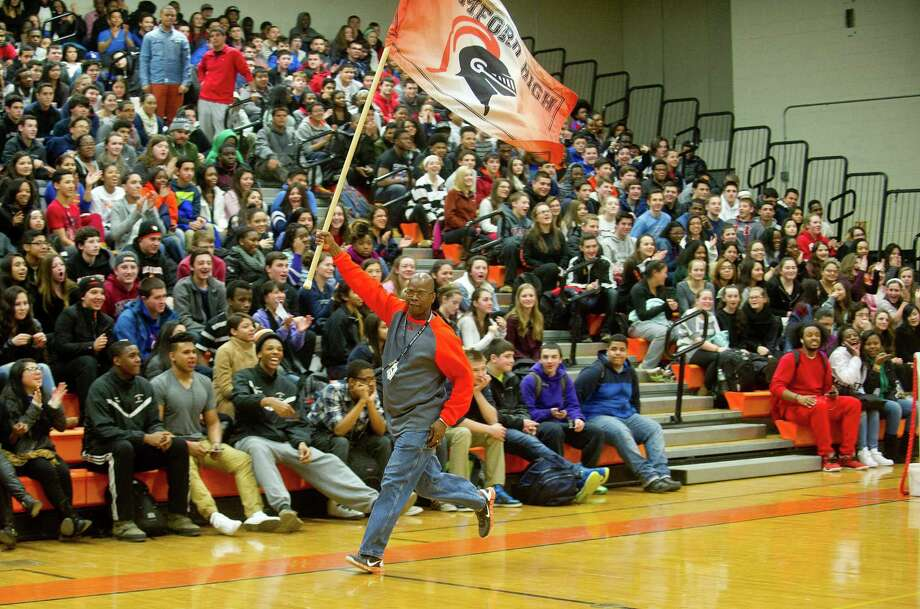 A Stamford High School assembly aimed to increase school pride on Friday, February 20, 2015. Photo: Lindsay Perry / Stamford Advocate