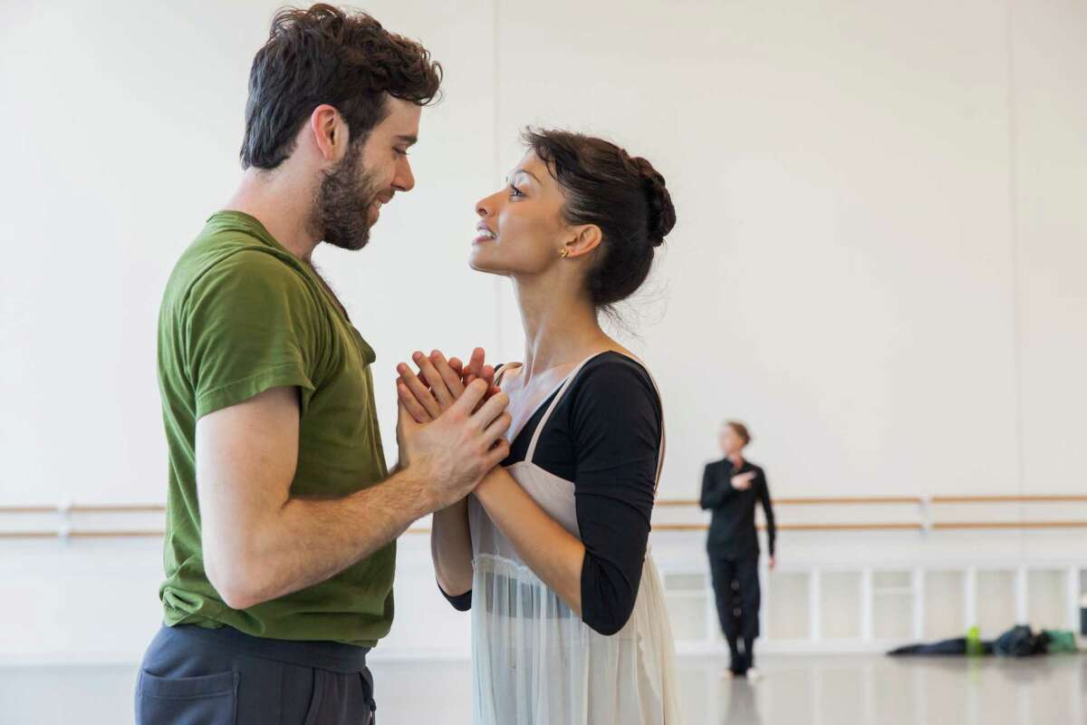 """Houston Ballet principal dancers Connor Walsh and Karina Gonzalez rehearse a pas de deux from Stanton Welch's new production of """"Romeo and Juliet."""""""