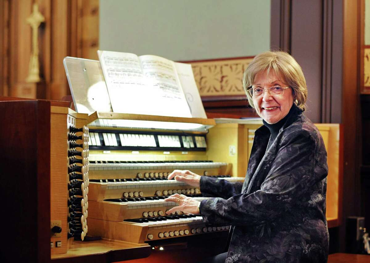 Church's organist of 42 years, Nancy Frank practices at the First Presbyterian Church of Albany Wednesday Feb. 18, 2015 in Albany, NY. (John Carl D'Annibale / Times Union)