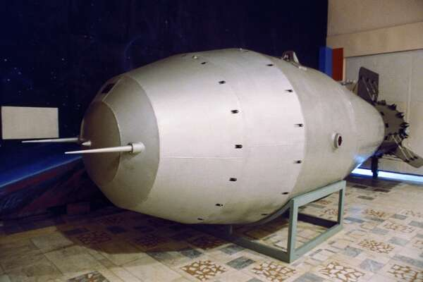 A model of a russian h-bomb, the most powerful in the world, displayed at the nuclear weapons museum in chelyabinsk, the bomb was tested 1961, 1991. (Photo by: Sovfoto/UIG via Getty Images)
