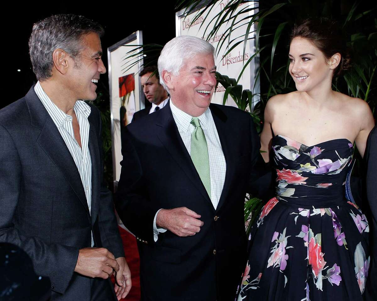 George Clooney, MPAA Chairman Chris Dodd, actress Shailene Woodley and Fox Filmed Entertainment Chairman Jim Gianopulos arrives at