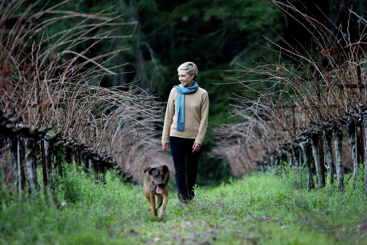 Diana Snowden Seysses, in her family's Lost Orchard parcel near Rutherford, splits her time between making Cabernet in Napa and making Burgundy in France.