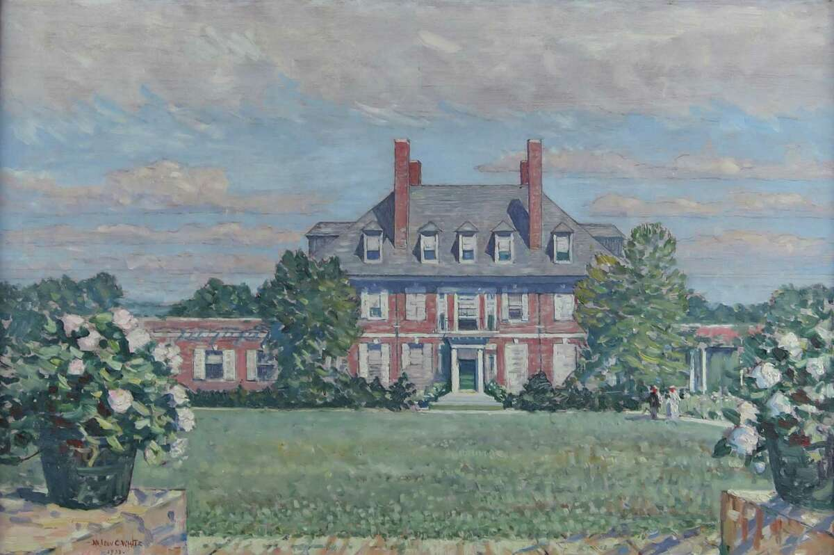 """Nelson C. White""""s Westomere, 1933, an oil on canvas, depicts the gardens at this former New London estate. The painting is included in """"Lost Gardens of New England"""" at the Lyman Allyn Art Museum."""