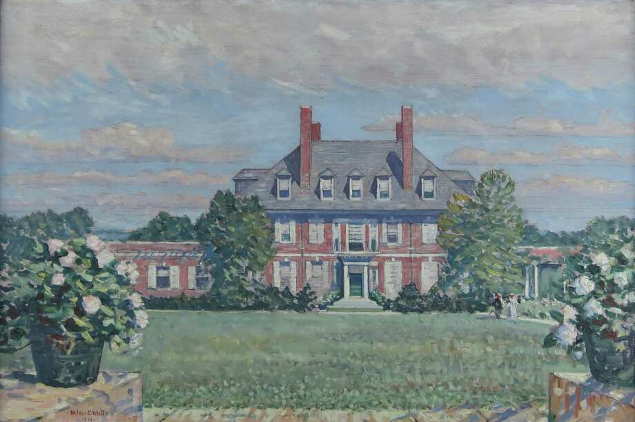 """Nelson C. White""""s Westomere, 1933, an oil on canvas, depicts the  gardens at this former New London estate. The painting is included in """"Lost Gardens of New England"""" at the Lyman Allyn Art Museum. Photo: Contributed Photo / Connecticut Post Contributed"""
