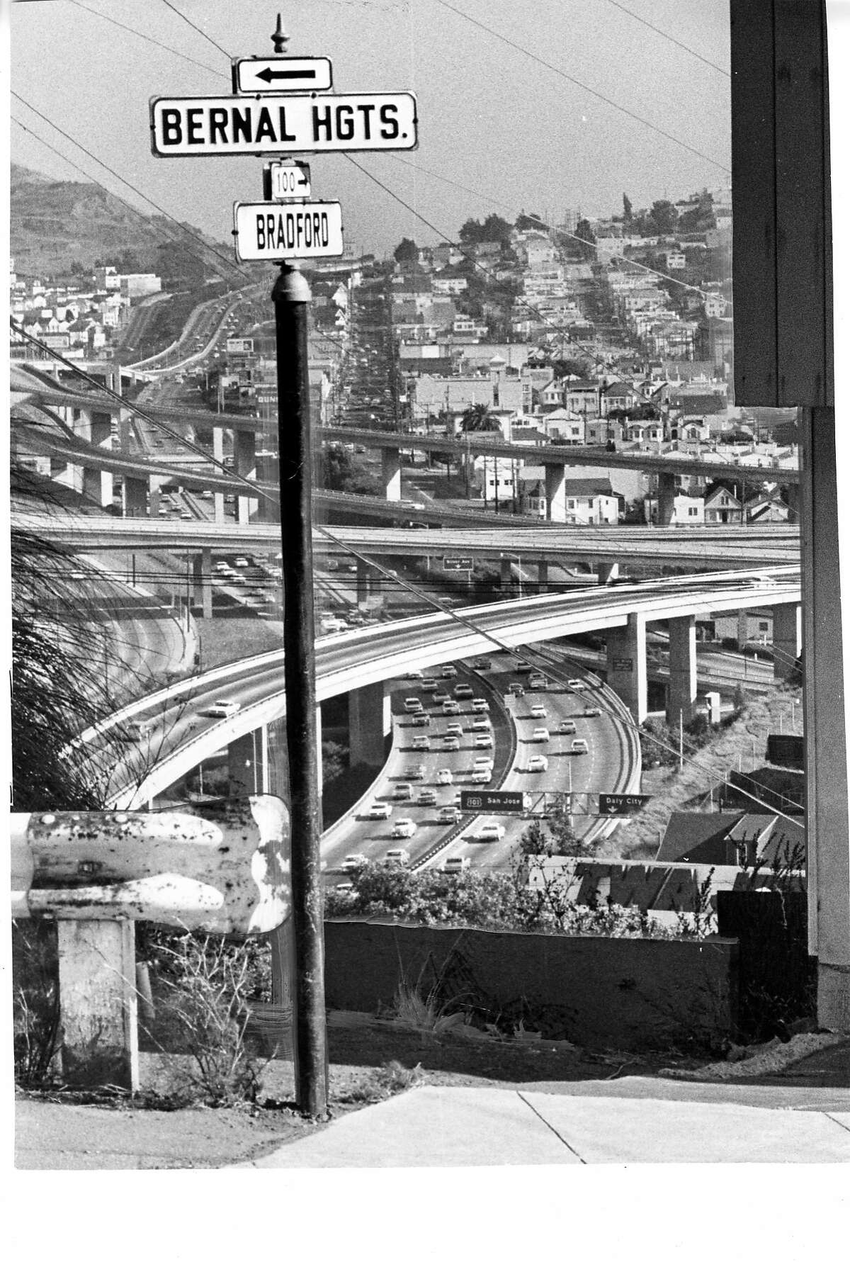Bradford Street overlooking the 101 freeway on Bernal Heights in San Francisco, Photo ran 08/22/1966 Street names project