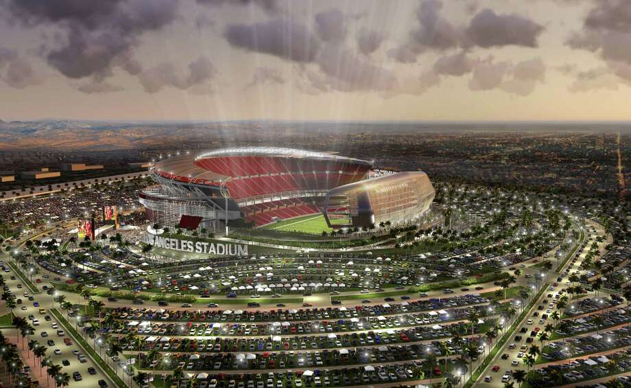 A rendering of the stadium proposed near Los Angeles for the Raiders to share with the Chargers. Is it meant to gain leverage with Oakland or merely a Raiders backup plan? Photo: Associated Press / MANICA Architecture