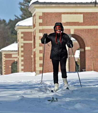 Roseanne Sondermeyer of Langhorne, Penn., cross country skis through Saratoga Spa State Park Friday, Feb. 20, 2015, in Saratoga Springs, NY.  (John Carl D'Annibale / Times Union) Photo: John Carl D'Annibale / 00030704A