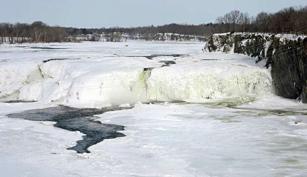 A nearly frozen over Cohoes Falls Friday, Feb. 20, 2015, in Cohoes, NY.  (John Carl D'Annibale / Times Union) Photo: John Carl D'Annibale / 00030704A
