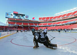 Sharks goalie Antti Niemi stretches before practice as the Sharks get the lay of the land at Levi's Stadium.
