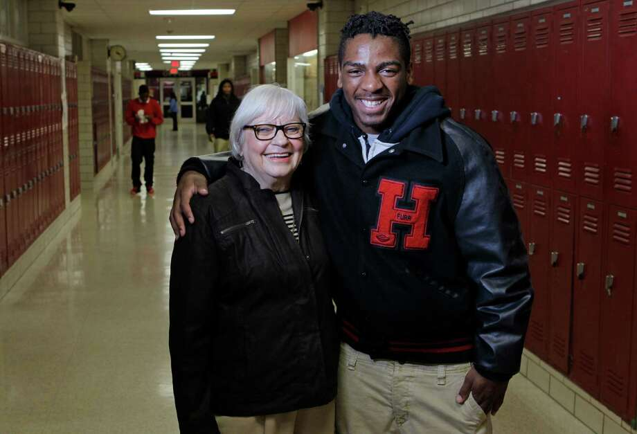 Furr High School principal Bertie Simmons taught students herself in a review for the English II exam. Senior Robert Cross passed the state test on his fifth try to become college-ready.  Photo: Melissa Phillip, Staff / © 2014  Houston Chronicle