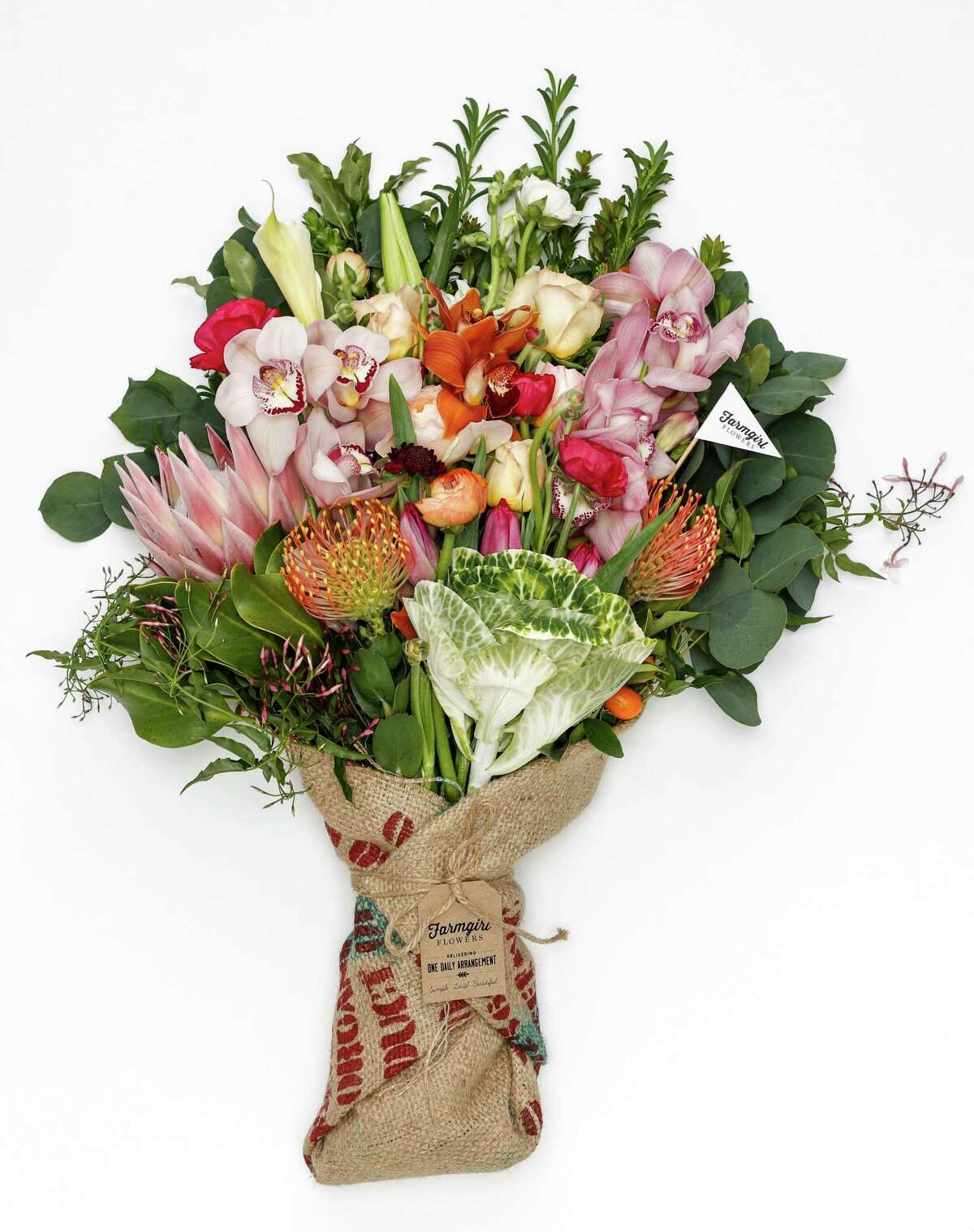 Farmgirl Flowers offers a single daily arrangement wrapped in recycled burlap.