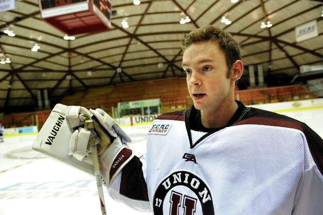 Union's goalie Colin Stevens talks with the media during Union hockey media day on Thursday, Oct. 3, 2013, at Union College in Schenectady, N.Y. (Cindy Schultz / Times Union) Photo: Cindy Schultz / 00024074A