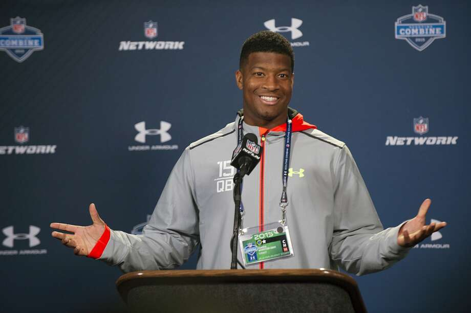 Refusing to discuss past incidents, Florida State quarterback Jameis Winston told reporters at the combine he knows he has to earn the trust of NFL teams. He said he dreams of being a Hall of Famer and winning Super Bowls. Photo: Doug McSchooler, FRE / FR170771 AP
