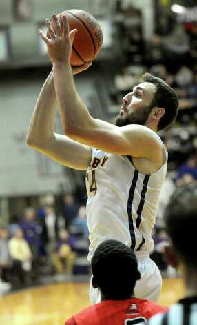 UAlbany's Sam Rowley goes to the hoop during their basketball game against Hartford on Friday, Feb. 20, 2015, at SEFCU Arena in Albany, N.Y. (Cindy Schultz / Times Union) Photo: Cindy Schultz / 00030640A