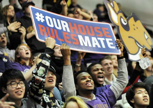 UAlbany's student section cheers for their team during their basketball game against Hartford on Friday, Feb. 20, 2015, at SEFCU Arena in Albany, N.Y. (Cindy Schultz / Times Union) Photo: Cindy Schultz / 00030640A