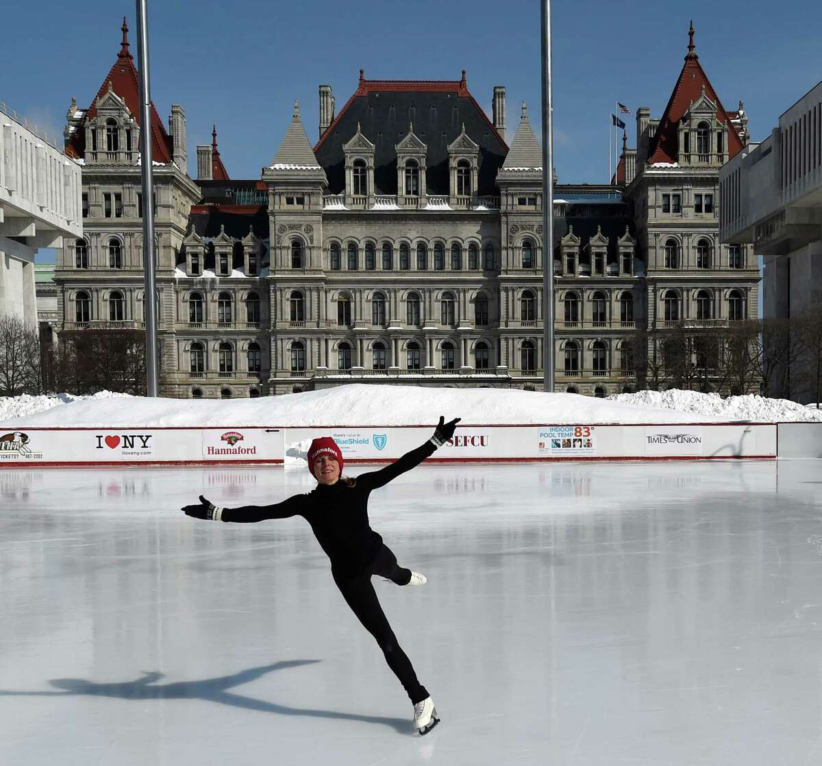 Two-time Olympic gold medalist Ekaterina Gordeeva performs at the Empire State Plaza Friday morning, Feb. 20, 2015, in Albany, N.Y. Gordeeva's appearance was courtesy of Hannaford which underwrites free skate rental each Friday at the Empire State Plaza ice rink. (Skip Dickstein/Times Union)