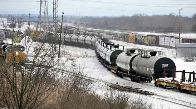 Tanker cars in the Selkirk rail yard Thursday, Feb. 19, 2015, in Selkirk, N.Y. (John Carl D'Annibale / Times Union)
