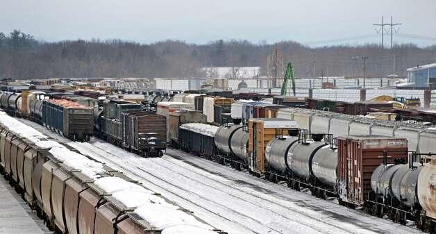 Tanker and freight cars sit in the Selkirk rail yard Thursday, Feb. 19, 2015, in Selkirk, N.Y.  (John Carl D'Annibale / Times Union) Photo: John Carl D'Annibale / 00030680A