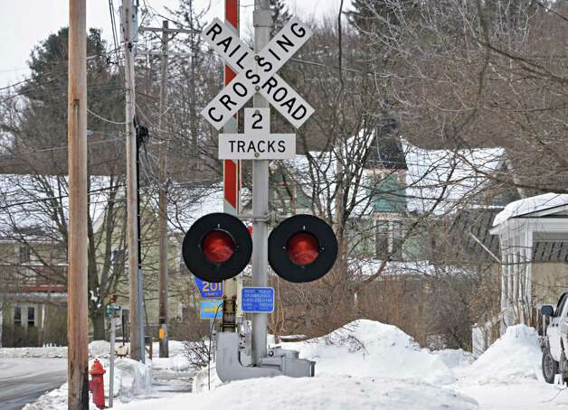 The busy railroad crossing at Voorheesville Avenue Thursday Feb. 19, 2015, in Voorheesville, NY.  (John Carl D'Annibale / Times Union) Photo: John Carl D'Annibale / 00030680A