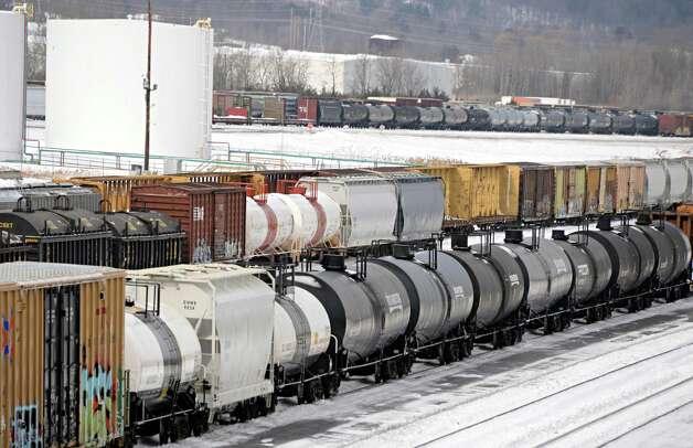 Tanker cars sit in the Selkirk rail yard Thursday, Feb. 19, 2015, in Selkirk, N.Y.  (John Carl D'Annibale / Times Union) Photo: John Carl D'Annibale / 00030680A
