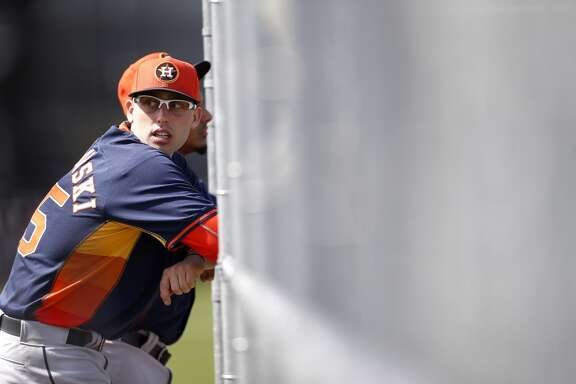Houston Astros right handed pitcher Jordan Jankowski (65) waits his turn to pitch on the 10-pack during the first day of spring training workouts for pitchers and catchers at their Osceola County training facility, Saturday, Feb. 21, 2015, in Kissimmee. ( Karen Warren / Houston Chronicle  )