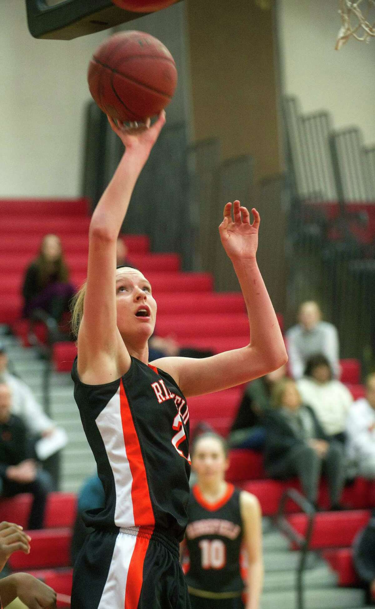 Ridgefield: Junior forward  Rebecca Lawrence averaged 15.0 points and 10.0 rebounds and was named FCIAC tournament MVP for the Tigers, who won the league title and reached the Class LL second round.