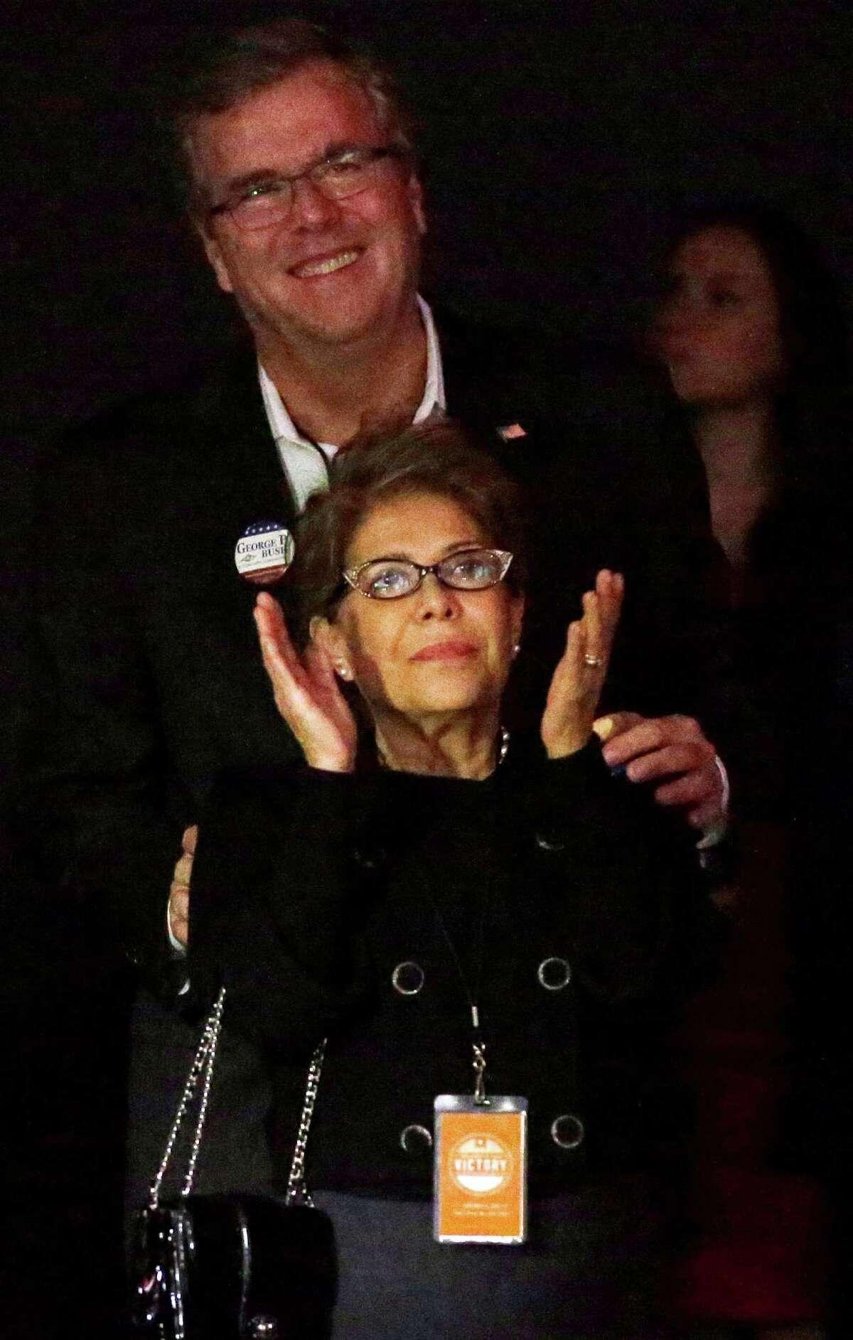 Jeb and Columba Bush applaud son George P. Bush's Texas victory.