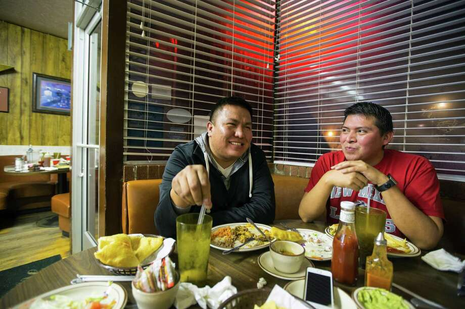 Alray Nelson, left, one of the few outspoken gay men on the Navajo Nation in Gallup, N.M., hopes to repeal tribal law and marry his partner Brennen Yonnie.  Photo: MONICA ALMEIDA, STF / NYTNS