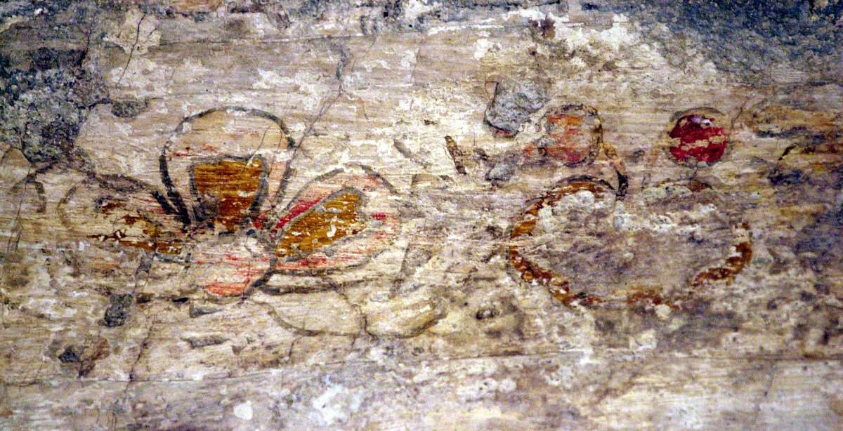 Fresco were recently discovered in February of 2000 on the sacristy wall of the Alamo Chapel of the Alamo in San Antonio, Texas. Pam Rosser and Cisi Jary of Restoration Associates, Limited, for four weeks willbe restoring what's left of the old paintings. A flower is depicted on the left and they believe a pomegranate is depicted on the right. (Ap Photo/San Antonio Epress-News,John Davenport)