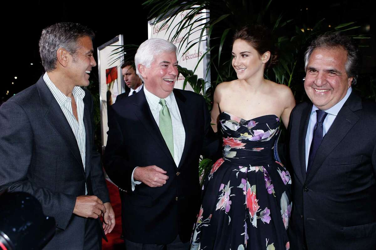 """George Clooney, MPAA Chairman Chris Dodd, actress Shailene Woodley and Fox Filmed Entertainment Chairman Jim Gianopulos arrives at """"The Descendants"""" Los Angeles Premiere at AMPAS Samuel Goldwyn Theater on November 15, 2011 in Beverly Hills, California."""