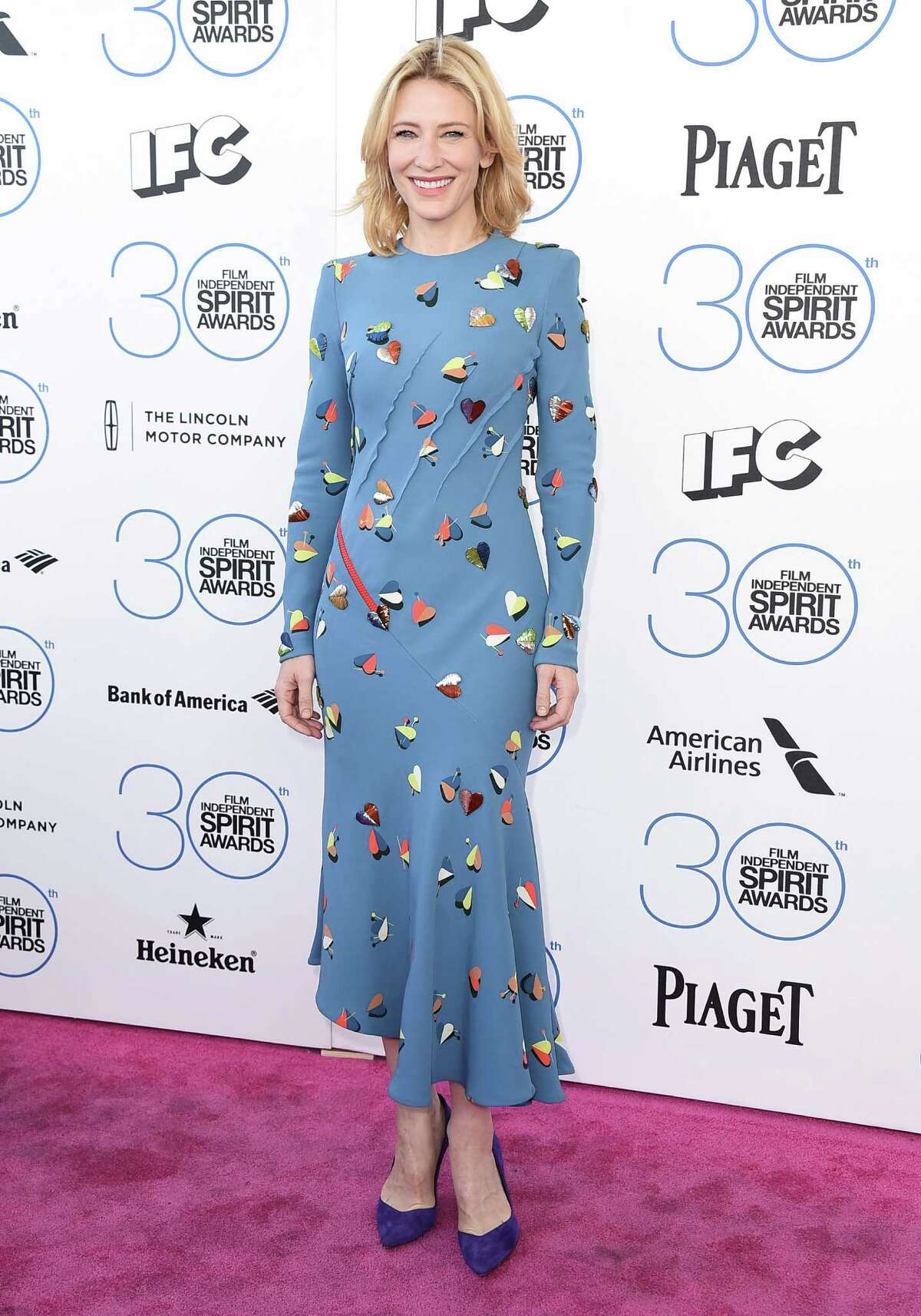 Cate Blanchett arrives at the 30th Film Independent Spirit Awards on Saturday, Feb. 21, 2015, in Santa Monica, Calif.