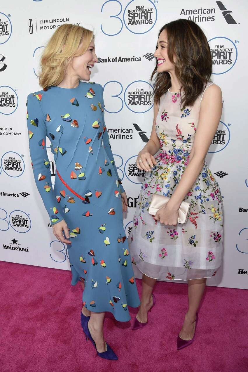Cate Blanchett, left, and Emmy Rossum arrive at the 30th Film Independent Spirit Awards on Saturday, Feb. 21, 2015, in Santa Monica, Calif.