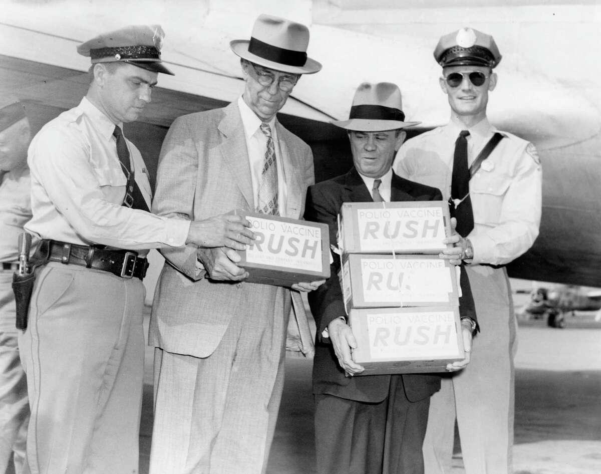Salk polio vaccine arrives in Houston, April 16, 1955.