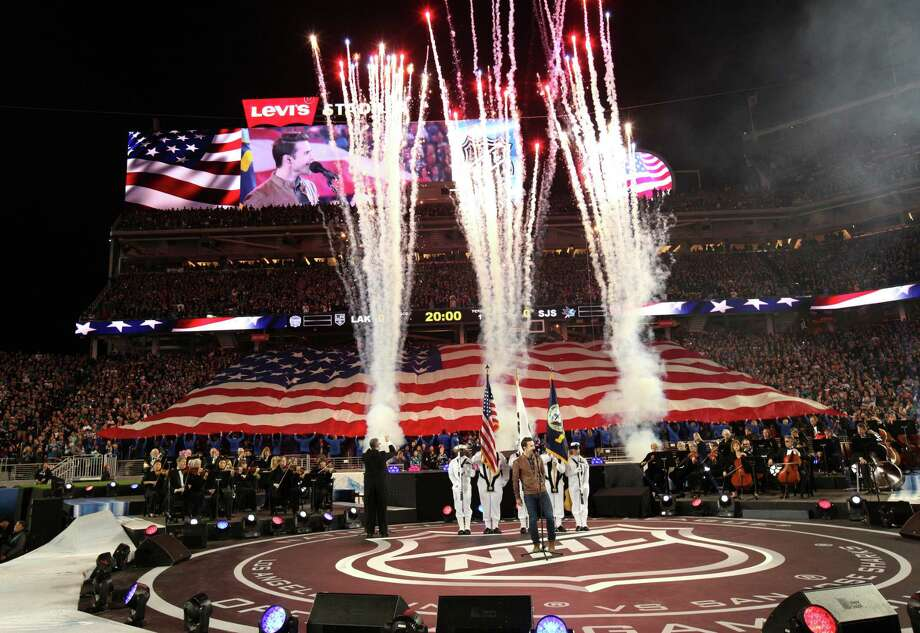 The pregame activities included Kris Allen singing the national anthem before the Sharks and Kings squared off before more than 70,000 fans at Levi's Stadium. Photo: Santiago Mejia / The Chronicle / ONLINE_YES