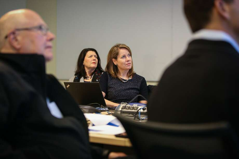 Venture capitalists Leslie Bottorff and Wende S. Hutton attend a meeting with Chrono Therapeutics in Hayward in February 2015.2015. Photo: Amy Osborne, The Chronicle
