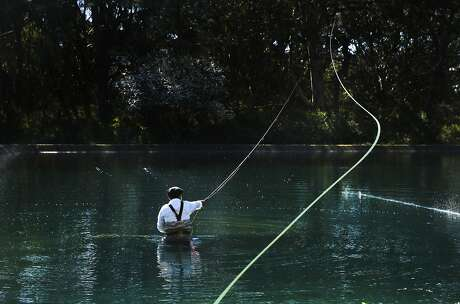Bert Rances, 61, practices his spey casting at the casting pools in Golden Gate Park on Friday 13, 2015 in San Francisco, Calif. Rances first picked up a fly fishing pole in 2001 and now is considered to be one of the best casters around.
