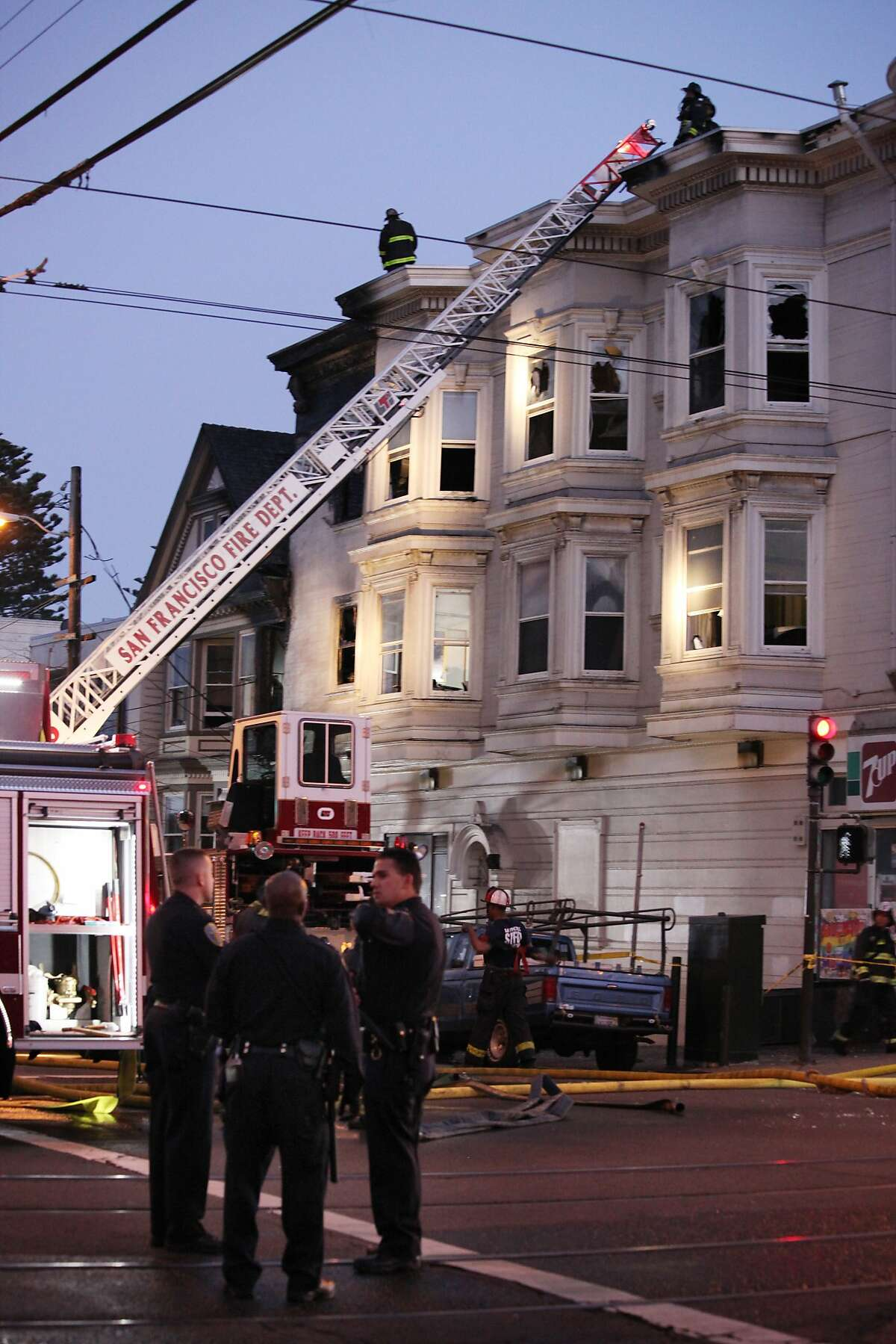 3-story residential building in the Castro at the intersection of 15th and Church Streets caught on fire in San Francisco, Calif., Saturday February 21, 2015.