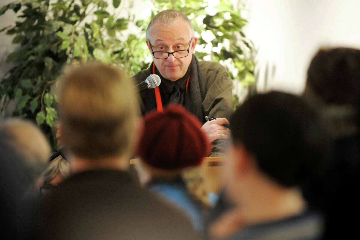 Rob Edelman, who teaches film history at UAlbany, speaks during an Academy Award themed event on Saturday, Feb. 21, 2015, at the Niskayuna Branch Library in Niskayuna, N.Y. The event included movie trivia, film clips, door prizes and popcorn. (Cindy Schultz / Times Union)