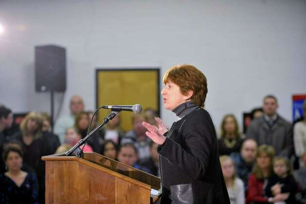 Albany Mayor Kathy Sheehan expresses her support for Albany County Sheriff Craig Apple and Albany County Executive Daniel McCoy during a campaign event  at the Albany Labor Temple on Sunday, Feb. 22, 2015, in Albany, N.Y.  (Paul Buckowski / Times Union) Photo: PAUL BUCKOWSKI / 00030716A