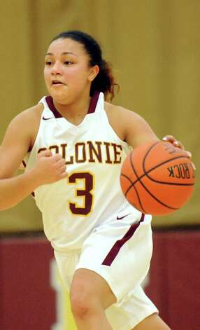 Colonie's Aliyah Wright controls the ball during their basketball game against Mohonasen on Friday, Jan. 9, 2015, at Colonie High in Colonie, N.Y. (Cindy Schultz / Times Union) Photo: Cindy Schultz / 00030149A