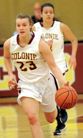 Colonie's Erin Fouracre drives up court during their basketball game against Mohonasen on Friday, Jan. 9, 2015, at Colonie High in Colonie, N.Y. (Cindy Schultz / Times Union) Photo: Cindy Schultz / 00030149A