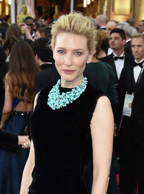 Cate Blanchett wears a turquoise Tiffany & Co. necklace with her simple black dress. Photo: MLADEN ANTONOV, Staff / AFP