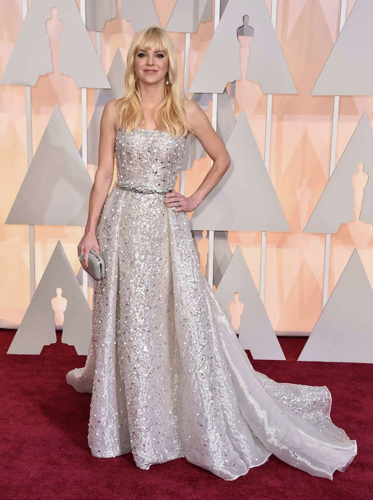 Anna Faris arrives at the Oscars on Sunday, Feb. 22, 2015, at the Dolby Theatre in Los Angeles. (Photo by Jordan Strauss/Invision/AP)