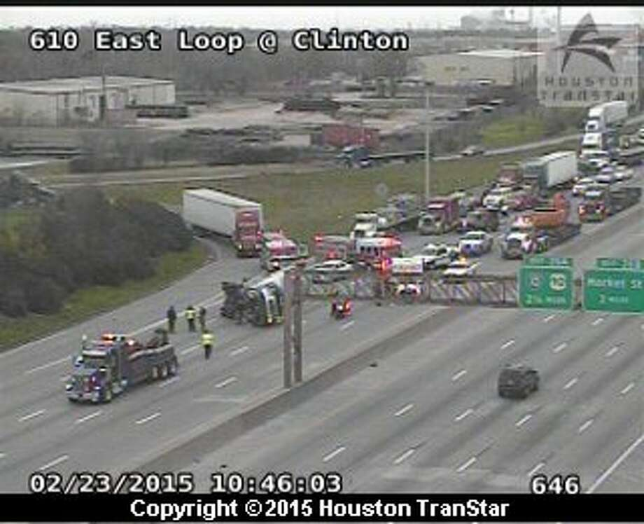 Traffic was snarled Monday, February 23, on the 610 Loop after a truck crash in east Houston. The two-vehicle wreck occurred about 10:30 a.m. on the southbound East Loop near Clinton, according to Houston TranStar. Photo: Houston Transtar
