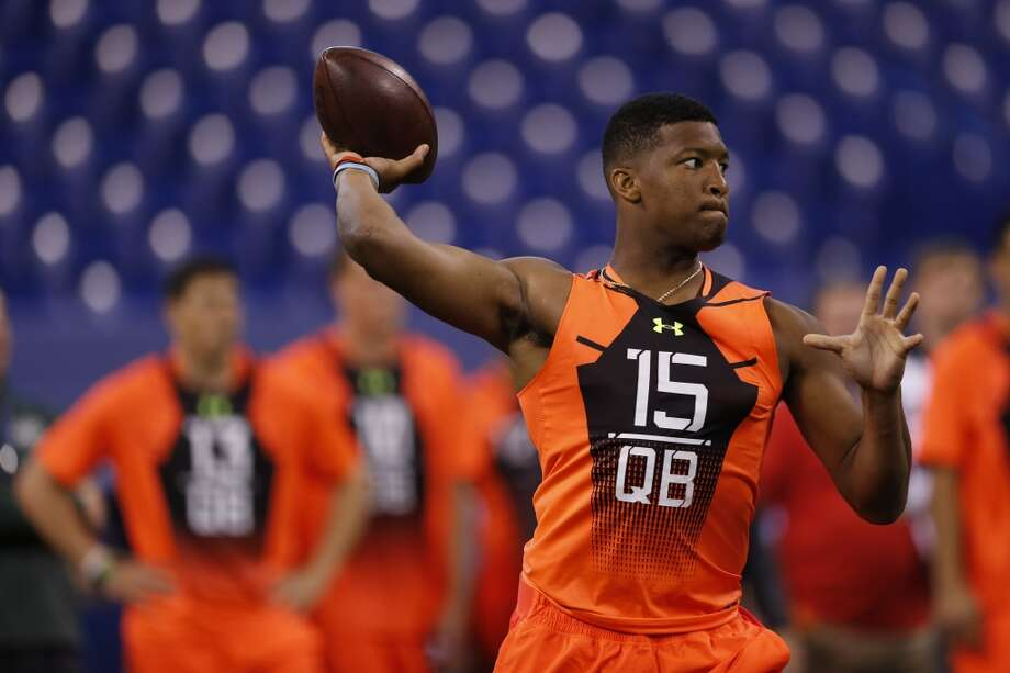 Jameis Winston, QB, Florida State Entering the combine, the main question was whether the highly talented Winston would hurt himself and his draft chances in a public setting. He did the exact opposite. The best QB available in the draft became the best potential overall player, hitting all of his passes and nailing his media interview. If Winston doesn't go No. 1 to Tampa Bay, the fall will now be a shock. Photo: Julio Cortez, Associated Press