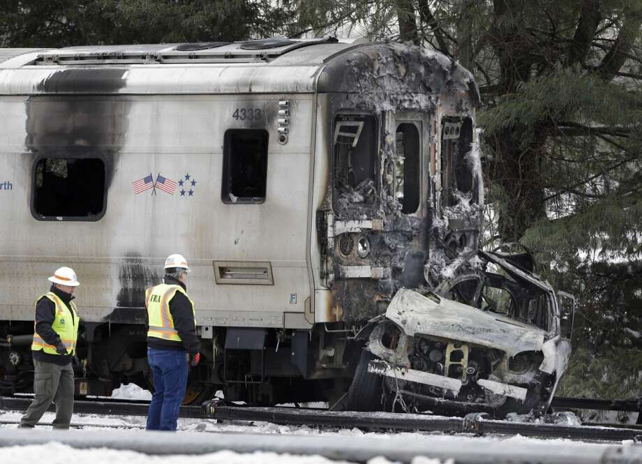 The scene of a deadly SUV and commuter train accident in Valhalla, N.Y., Wednesday, Feb. 4, 2015. Photo: AP